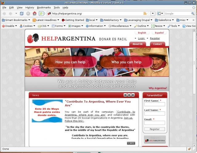 http://helpargentina.org/: Wow, this was a huge endeavor. It was big in functionality (i18n fully bilingual, extensive use of customized easy to edit pages referencing and including content, extensive creation of users and content types via coding, plus cool use of touches such as image rotator (swftools module).